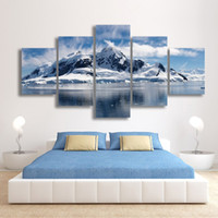 Wholesale Mountain Wall Painting - 5 Panels Snow Mountain Landscape Painting Canvas Printing Modern Home Wall Decor Painting for Living Room Unframed