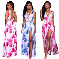 Wholesale dress chiffon overlay - Wholesale Women Sexy V-Neck Halter Floral Print Maxi Overlay Party Jumpsuit Romper Beach Cover Up Dress Price