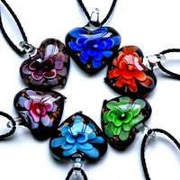 Wholesale Cheap Lampwork Pendants - Wholesale-inner Gold dust heart lampwork murano glass pendants with necklaces cheap fashion jewelry for girl gift 2016 hot handmade flower