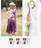 2017NEW Princesse Tangled Rapunzel longue Braid blond cosplay perruque / perruques 100