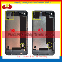 Wholesale Housing Battery Iphone 4s - High Quality For iPhone 4 4G 4S Back Rear Cover Housing Battery Cover Door Rear Cover Chassis Black White