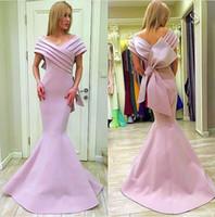 sirena vestidos de fiesta de proa al por mayor-Mnm Couture Pink Stain Big Bow Mermaid Prom Vestidos formales 2018 Off Shoulder Plus Size Longitud completa Dubai Árabe Vestido de noche