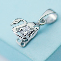 Wholesale Silver Rhinestone Pendant Bails - 925 Sterling Silver Bail Pendant Clasp Pinch With Clear Rhinestone Charm Swan Connector Clasp Pendant   Findings   Bright For DIY Craft Deco
