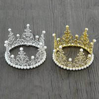 Wholesale Hairbands For Women Brides - Round Crown Gold King Bridal Ornaments Pearls Circle Women Tiaras For Children's Birthday Wedding Bride Hair Accessories Jewelry