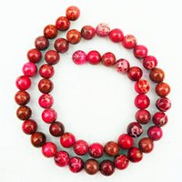 Wholesale Pyrite Necklace - YZ70 8mm rose red Sea Sediment Jasper&Pyrite Round loose bead 15.5 inch