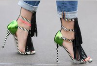 Wholesale fringe heels - Summer 2017 new Tassel Style Sandals For Women Gladiator High Heel fringe sandals Sexy Stripped ladies Shoes Brand Designers