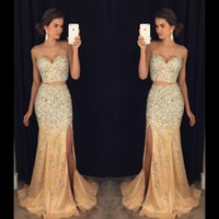 Wholesale Evening Dresses Mermaid Crystals - 2017 New Sexy Two Pieces Champagne Tulle Prom Dresses Sweetheart Crystal Beading Side Split Mermaid Party Dress Formal Evening Gowns