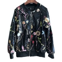 Wholesale Heavy Women Coats - Quality Clothes Heavy Art Embroidery Flowers Sequins Jacket Baseball Coat Floral Outerwear for Women