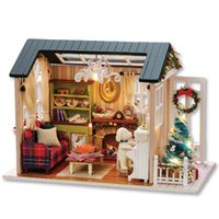 Wholesale Miniature House Lights - CUTEROOM DIY Wooden House Furniture Handcraft Miniature Box Kit with LED Light - Holiday Time Christmas Gifts Miniature DIY Doll House Model