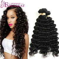 Wholesale Deep Waves Human Hair - Deep Wave Brazilian Human Hair Weaves 100% Unprocessed Human Hair Extensions 3Bundles Brazilian Human Hair Weave Bundles Wholesale price