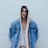 kentsel hip hop atkısı toptan satış-Toptan Satış - ONCEGALA Sherpa Hoodie Streetwear Kanye West Giyim Moda Hip Hop Kaykay Kentsel Giysiler Swag Erkekler Hoodies Kapşonlu Hırka
