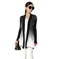 Wholesale New Women Front Open Cardigan - Wholesale-New Women Knitted Cardigan Open Front Stripe Long Sleeve Slim Cardigan Women Outerwear Casual Knitwear Black Rose