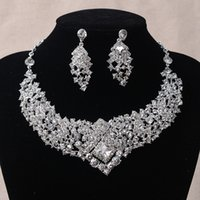 Wholesale Photo Earrings - Luxury Crystal Rhinestone Wedding Bridal Necklace Earrings Set Photo Bride Accessories Evening Prom Party Homecoming Jewelry New Hot Sell