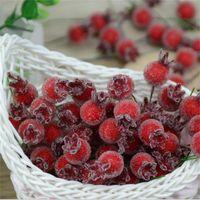 ingrosso bacche rosse artificiali-All'ingrosso-10PCS Mini finto vetro melograno frutta bacche piccole fiori artificiali rosso ciliegia stame matrimonio natale decorativo