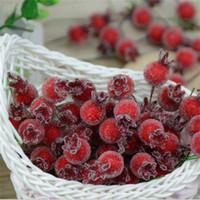 rote dekorative blumen großhandel-Großhandels- 10PCS Mini gefälschte Glas Granatapfel-Frucht-kleine Beeren-künstliche Blumen rote Kirsche Staubblatt-Hochzeits-Weihnachten dekorativ