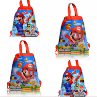 Wholesale Toys 34 - 12PCS Cartoon Cute Super Mario Sbags Kids Cartoon Drawstring Backpack& Bag Kids School Shopping Bags, 34*27cm, Birthday Party Gifts