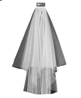 Wholesale Wedding Veils For Muslim Brides - 2017 White Ivory Bridal Veils 2 Layers With Comb Edge Tulle Veil for Church Wedding Bride In Stock