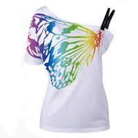 Wholesale Tee Butterfly Print - Women T Shirts Skew Collar Butterfly Print European Style New Summer Casual Woman T-shirt Tees Tops ZL3080