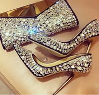 zapatos de boda de cristal bling al por mayor-Elegante Bling Bling Bombas zapatos de vestir de moda de las mujeres de tacones altos de cristal de lujo con cuentas Glitter nupcial zapatos de boda para las mujeres