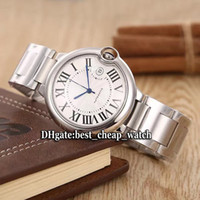 Wholesale Watch Band Silver Cheap - Super Clone Brand Luxury White Dial W69012Z4 Silver Bezel Automatic Mens Watch 42mm 361L Stainless Steel Band Gent Watch New Cheap Watches