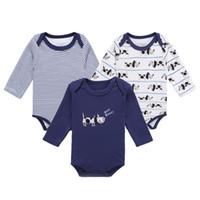 Wholesale Dog Children Clothing - Baby Boy Girl Romper 3pcs sets Striped Dog Pattern Printing Long Sleeve Round Neck Cotton Children Clothing