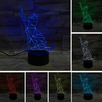 Barato Tipos De Interruptor Da Lâmpada De Toque-3D Sleep Kid Light Animal Cat Night Light decoração para casa Bulb presente de Natal 7 Color Kid Touch Switch Type 3D LED Lamp