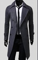 Plus Size Herren Trenchcoat Winter Herren Lange Pea Herren Wolle Mantel Drehen Kragen Double Breasted Männer Trenchcoat