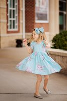 Wholesale Wholesale Pale Blue Tutus - Baby Girls Dress Brand Summer Beach Style Floral Print Party Backless Dresses For Girls Vintage Toddler Girl Clothing 1-9Yrs