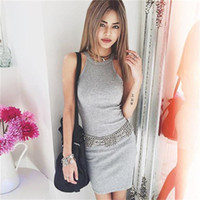 Wholesale Wholesale Fashion Club Dresses - Wholesale- New Arrival Sexy Women Package Hip Dress Solid Bandage Sleeveless Summer Simple Dress Fashion Halter Style Casual Mini Dress
