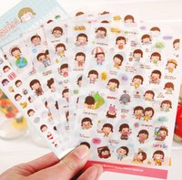 Wholesale Girls Sticker Album - Wholesale- 6 Sheets set Cute Lovely Girls Phone Calendar Book Album Diary Decor Paper Sticker Scrapbooking Kawaii Stickers Shipping K6540
