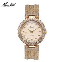 Wholesale Water Resistant Watch China - MISS FOX Ladies Watch Fashion Casual Brand Steel Mesh Gold Quartz China Watches Waterproof Simple Chinese Imported Wrist Watch