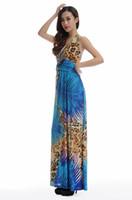 Wholesale Empire Ice - Deep V-Neck Boho halter Dress Flower Print Styles Ice Silk fabric Sexy Dress For Holliday Plus