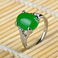 Wholesale Green Jade Plant - 100% Natura China Bisuteria Titanium steel Jewelry Vintage Retro Austrian Crystal Agate Jade Big Rings For Women Ring