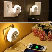 Wholesale Plug Mini Night Lights - Smart Design 0.5W Mini Dual USB LED Night Sensor Light Socket Wall Charger Sensor Lamp for bedroom EU   US Plug
