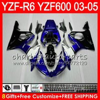 Wholesale Yamaha R6 Fairing Kit Blue - 8Gifts 23Colors Body For YAMAHA YZF600 YZFR6 03 04 05 YZF-R600 56HM2 TOP blue black YZF R 6 YZF 600 YZF-R6 YZF R6 2003 2004 2005 Fairing kit