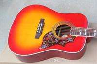 guitarra acústica pickguard al por mayor-Guitarra eléctrica acústica de 41 pulgadas Custom Humming Desert Honey Sunburst, incrustación de diapasón de paralelogramo dividido, Golpeador de tortuga roja Venta superior