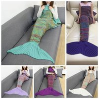 Wholesale Couch Blankets - Mermaid Tail Blanket 180*90cm Hand Knitting Color Grid Crochet Wrap Warm Soft Knitted Wrap Sofa Couch Bed Car Blankets 5pcs OOA3556