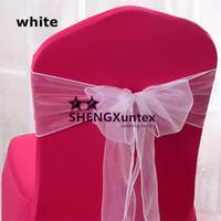 silla de organza blanca arcos al por mayor-Color Presidente del Organza \ Silla de arco para la boda cubierta de la silla envío