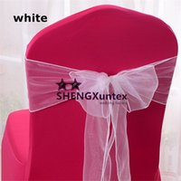 Wholesale Wholesale Fabric For Chair Covers - White Color Organza Chair Sash \ Chair Bow For Wedding Chair Cover Free Shipping