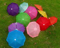 Wholesale Decorative Lace Fabric - Wholesale Long 22CM Multicolor children's Mini dance decorative toys, umbrellas, props, craft umbrella lace free shipping LLFA122