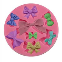 Wholesale Diy Fondant - Bow Tie Shape Silicone Mold Bowknot DIY Cake Mold Sugar Craft Fondant Candy Chocolate Mold Bakware Tools OOA2463