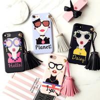 Wholesale Cartoon Girls Phone Case - For iphone 7 7 plus Fashion Girl Soft Silicone Case Cartoon Tassel Accesories Rivets Phone Cases For iphone 6 plus 6s plus iPhone Case 530