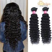 Wholesale curly human hair deep wave - Wholesale 8A Brazilian Virgin Hair Deep Wave Unprocessed Brazilian Deep Wave Curly Hair Bundles Brazilian Remy Human Hair Extensions