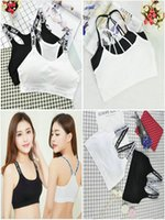 Wholesale Sexy Tops Women Girls - Mix 8 Styles Pink Letter Women Sexy Sport bras Grop Top Girls bra without steel Seamless Genie Bra cotton sports vest underwear Running bras