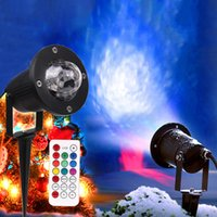 lámpara de onda de agua al por mayor-7 colores LED Onda de agua Ondulación Efecto de escenario Lámpara de iluminación Proyector láser de Navidad a prueba de agua Al aire libre Fiesta del paisaje Show lamp