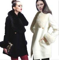 Wholesale Worsted Coat For Women - elegant wool coat with fur collar for women Apparel factories women winter long coats wool coat