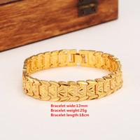 браслет из желтого золота для мужчин оптовых-Вечная классика широкий ID браслет 14 K настоящее твердое желтое золото Дубай браслет женщин мужские модные ручной ремешок цепи ювелирных изделий