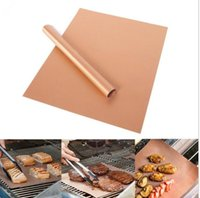 Wholesale Barbecue Grilling Liner BBQ Copper Grill Mat Portable Non stick and Reusable CM MM Grill and Bake Mat Camping BBQ Pads KKA1848