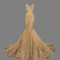 Wholesale Sexy Beautiful Evening Dresses - Mermaid Sweethaert Gold Applique Tulle Elegant Beaded Evening Dresses Evening Dresses Custom Made Luxurious Royal Beautiful