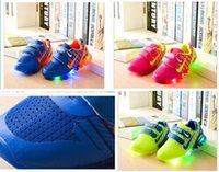 Wholesale multi color net lights - Children s Shoes with light new spring sport running girls fashion sneakers kids led net breathable boys shoes European shoe size